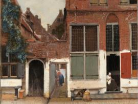 Canvasdoek Het straatje, Johannes Vermeer