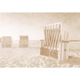 Fotobehang Strandstoel Oostzee Sepia