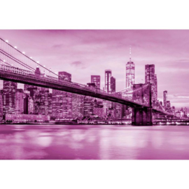 Fotobehang Brooklyn Bridge NYC Roze
