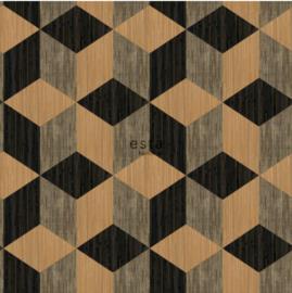 Esta wallpaperXXL 158918 grasscloth 3D cubes