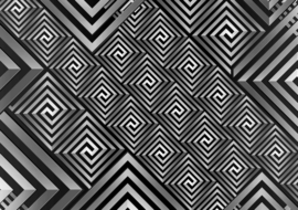 Fotobehang Abstract art pattern black & grey