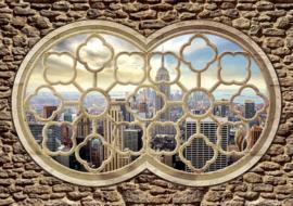 Fotobehang Doorkijk Dubai City  Skyline Raamvenster