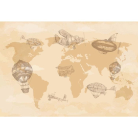 Fotobehang Vintage Planes & Balloons around the World I