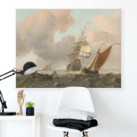 Canvasdoek Woelige zee met schepen, Ludolf Bakhuysen, 1697
