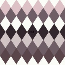 Esta Boho Chic 148681 multi wieber ruit met linnen structuur horizontale streep