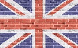 Fotobehang vlag Union Jack op stenen muur