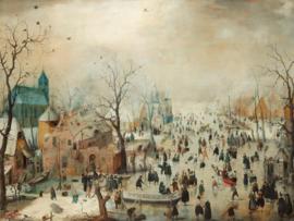 Canvasdoek Winterlandschap met schaatsers, Hendrick Avercamp, ca. 1608