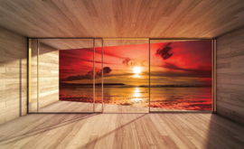 Fotobehang Uitzicht op de zonsondergang