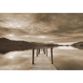 Fotobehang Steiger in het Meer Sepia