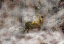 Fotobehang Forest Stag In The Mist