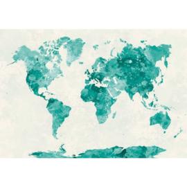 Fotobehang Wereldkaart Aquarel Groen