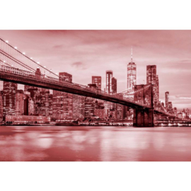 Fotobehang Brooklyn Bridge NYC Rood