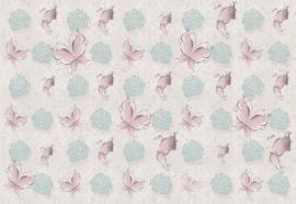 Fotobehang Vlinders en rozen