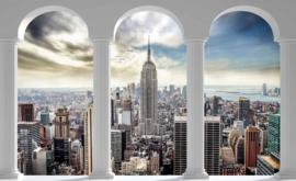 Fotobehang Doorkijk New York  Skyline Pilaarbogen