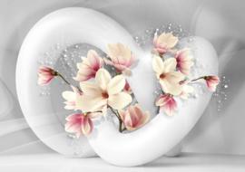 Fotobehang Abstract white flower white
