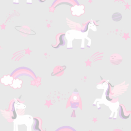 Over the Rainbow 90960 Unicorns Rockets and Rainbows Grey