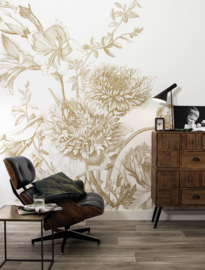 Kek Gold MW-028 Engraved Flowers 200cm breed x 280cm hoog