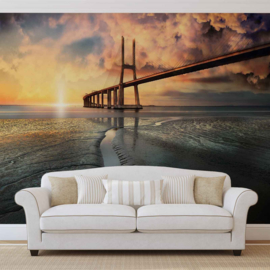 Fotobehang City Bridge Portugal bij strand en zonsondergang
