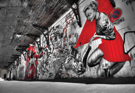 Fotobehang Grunge Graffiti Black White Red
