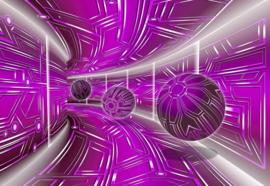 Fotobehang Modern 3D Tech Tunnel Purple