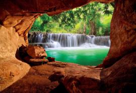 Fotobehang Waterval grot