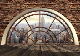 Fotobehang Doorkijk New York  Skyline Raamvenster
