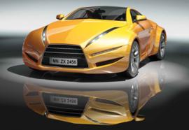 Fotobehang Sportauto Geel
