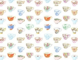 Wallpaper XXL Esta Home Pretty Nostalgic 158110 painted teacups