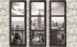 Fotobehang Doorkijk New York  Stenen Muur met Ramen