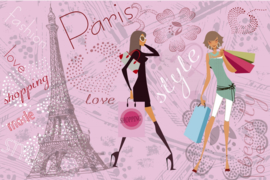 Fotobehang Paris Girls