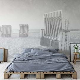 Fotobehang Strandstoel Oostzee Zwart Wit