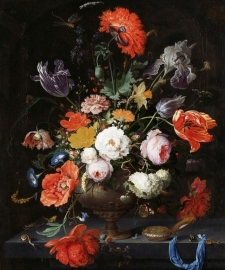 Fotobehang Stilleven met bloemen en horloge - Mignon Rijksmuseum
