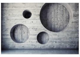 Fotobehang Plankenwand met cirkels
