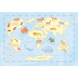 Fotobehang Kids Classic World Map