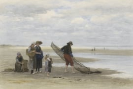 Fotobehang Garnalenvisser op het strand - Philip Sadée