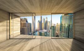 Fotobehang Uitzicht door het raam op de haven van Dubai City