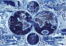 Fotobehang Wereldkaart Blauw