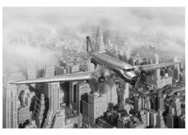 Fotobehang Vliegtuig boven N.Y