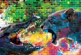 Fotobehang Battle Lion Alligator