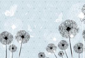 Fotobehang Dandelions And Butterflies