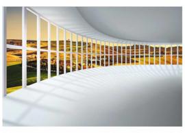 Fotobehang Afgeronde hal met panorama uitzicht