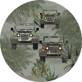 Sofie & Junar bush drive green stickercirkel zelfklevend