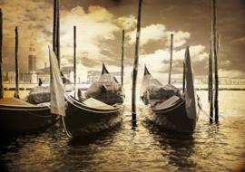 Fotobehang Venetië Gondels