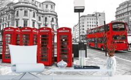Fotobehang London Telephone en Dubbeldekker