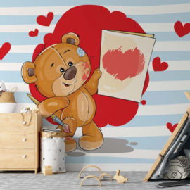 Fotobehang The Big Heart Bears: Love Painting