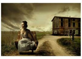 Fotobehang Vrouw op fauteuil