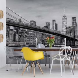 Fotobehang Brooklyn Bridge NYC Zwart Wit