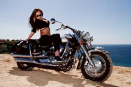 Fotobehang Glamour Girl op motor