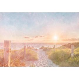 Fotobehang Zonsondergang bij het Strand Vintage