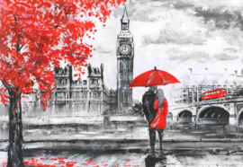 Fotobehang London Red Black White Art Painting